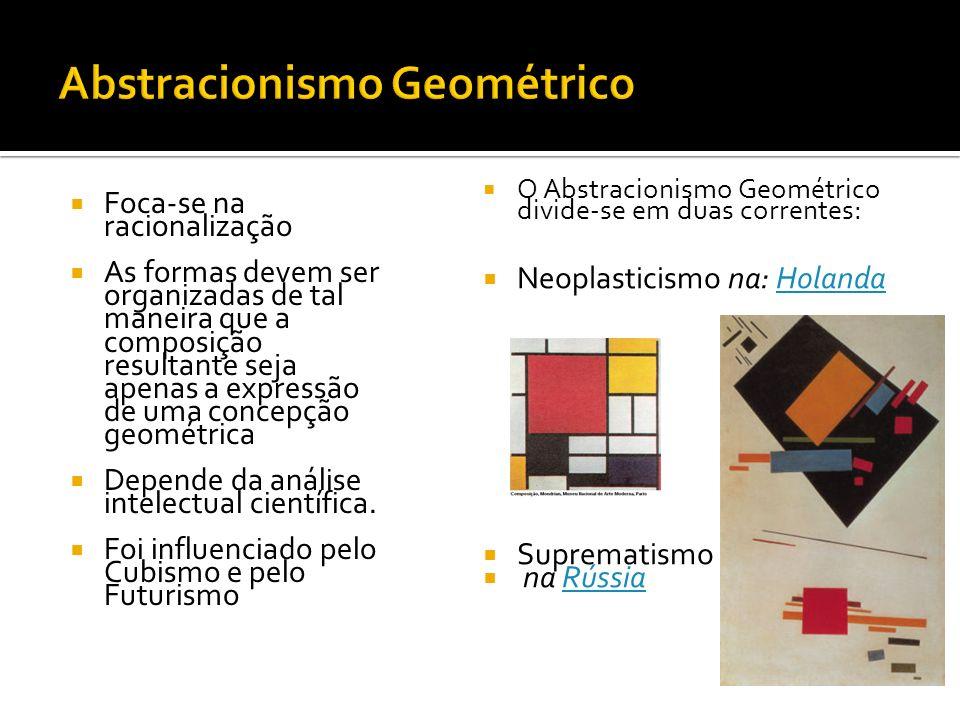 Foca-se na racionalização As formas devem ser organizadas de tal maneira que a composição resultante seja apenas a expressão de uma concepção geométri