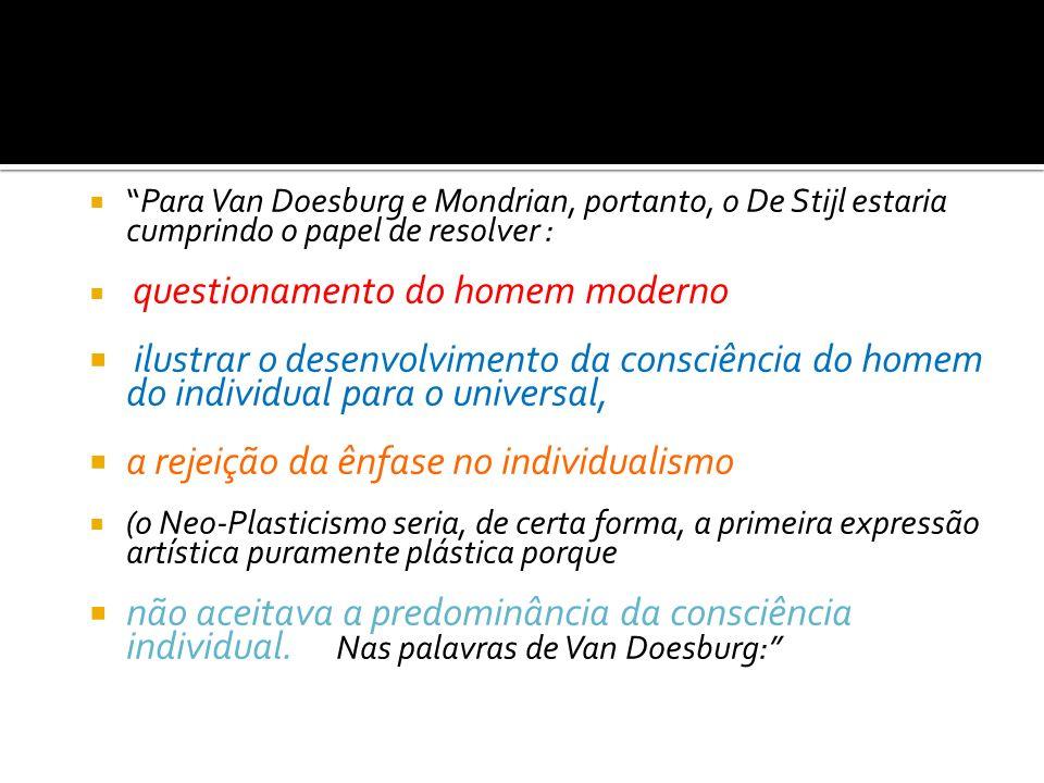 Para Van Doesburg e Mondrian, portanto, o De Stijl estaria cumprindo o papel de resolver : questionamento do homem moderno ilustrar o desenvolvimento