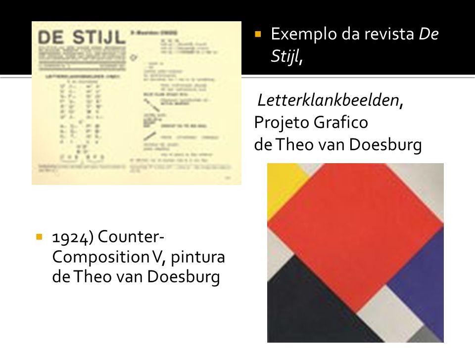 1924) Counter- Composition V, pintura de Theo van Doesburg Exemplo da revista De Stijl, Letterklankbeelden, Projeto Grafico de Theo van Doesburg