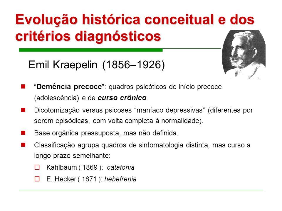 Evolução histórica conceitual e dos critérios diagnósticos Demência precoce: quadros psicóticos de início precoce (adolescência) e de curso crônico.