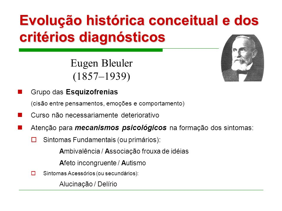 Evolução histórica conceitual e dos critérios diagnósticos Demência precoce: quadros psicóticos de início precoce (adolescência) e de curso crônico. D