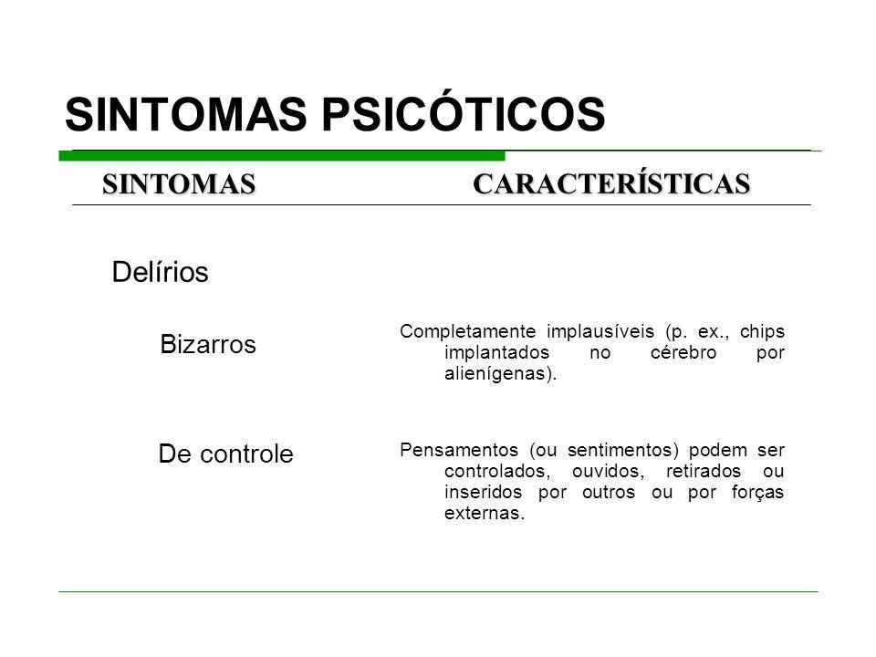 SINTOMAS PSICÓTICOS Delírios Bizarros De controle Completamente implausíveis (p.