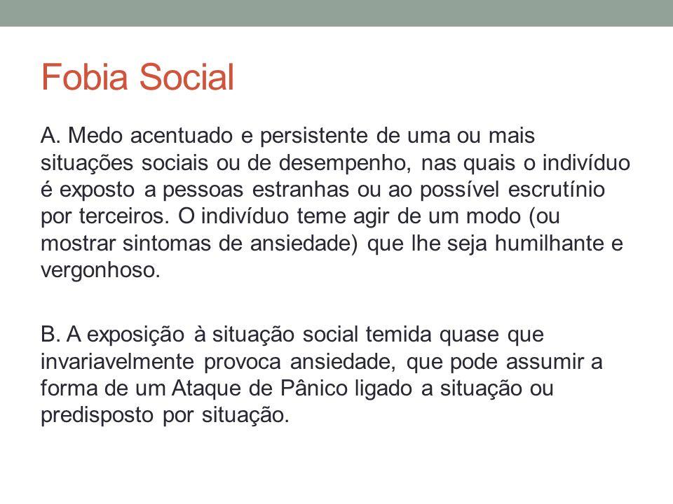 Fobia Social C.A pessoa reconhece que o medo é excessivo ou irracional.