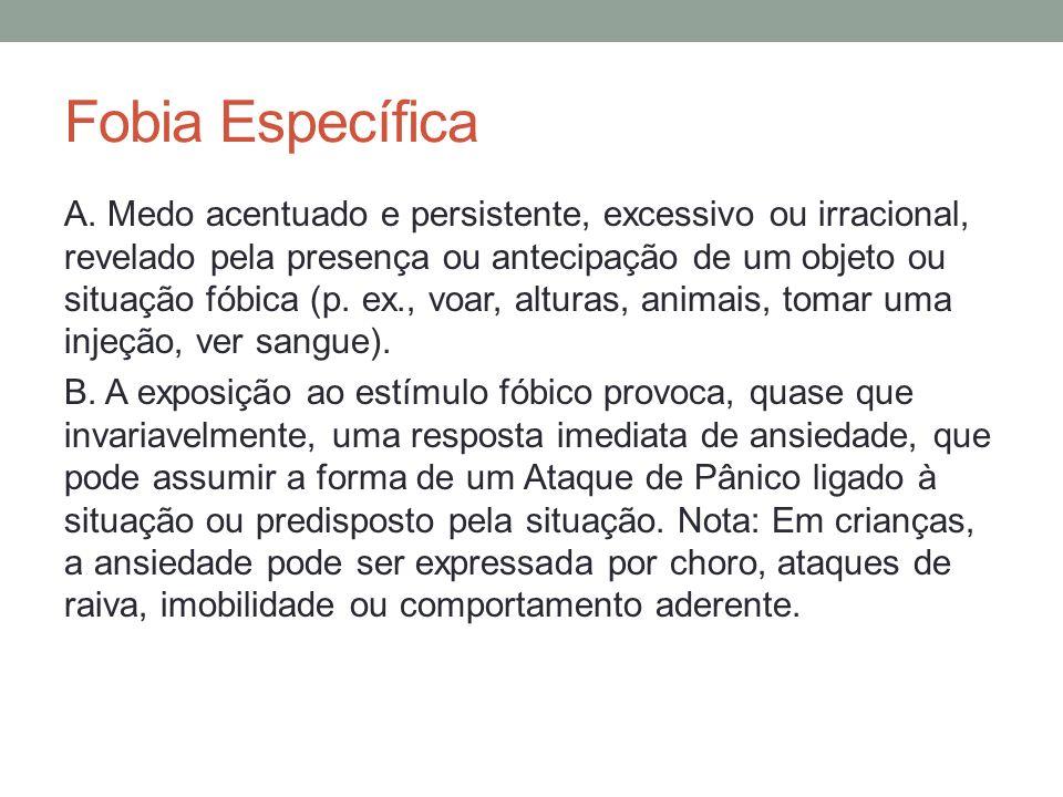 Fobia Específica C.O indivíduo reconhece que o medo é excessivo ou irracional.