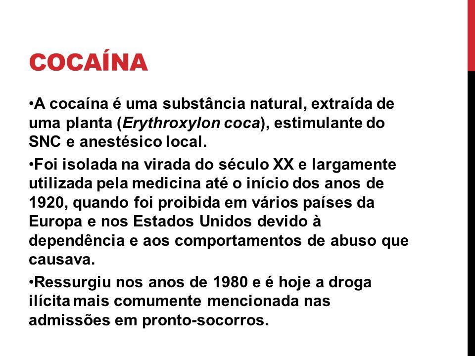 COCAÍNA A cocaína é uma substância natural, extraída de uma planta (Erythroxylon coca), estimulante do SNC e anestésico local. Foi isolada na virada d