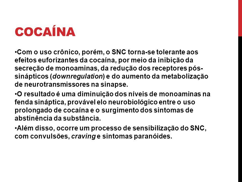 COCAÍNA Com o uso crônico, porém, o SNC torna-se tolerante aos efeitos euforizantes da cocaína, por meio da inibição da secreção de monoaminas, da red