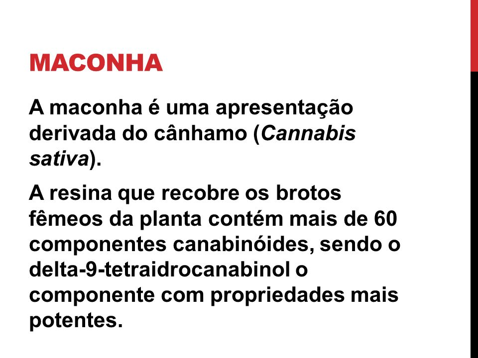 MACONHA A maconha é uma apresentação derivada do cânhamo (Cannabis sativa). A resina que recobre os brotos fêmeos da planta contém mais de 60 componen
