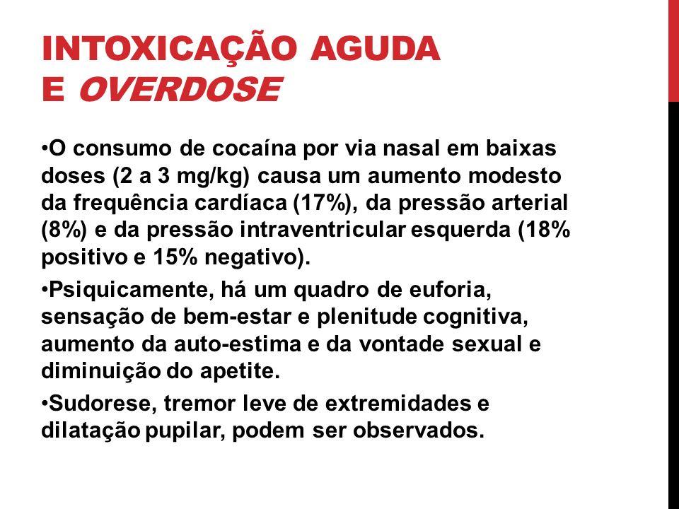 INTOXICAÇÃO AGUDA E OVERDOSE O consumo de cocaína por via nasal em baixas doses (2 a 3 mg/kg) causa um aumento modesto da frequência cardíaca (17%), d