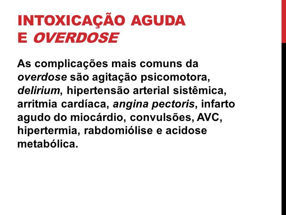 INTOXICAÇÃO AGUDA E OVERDOSE As complicações mais comuns da overdose são agitação psicomotora, delirium, hipertensão arterial sistêmica, arritmia card