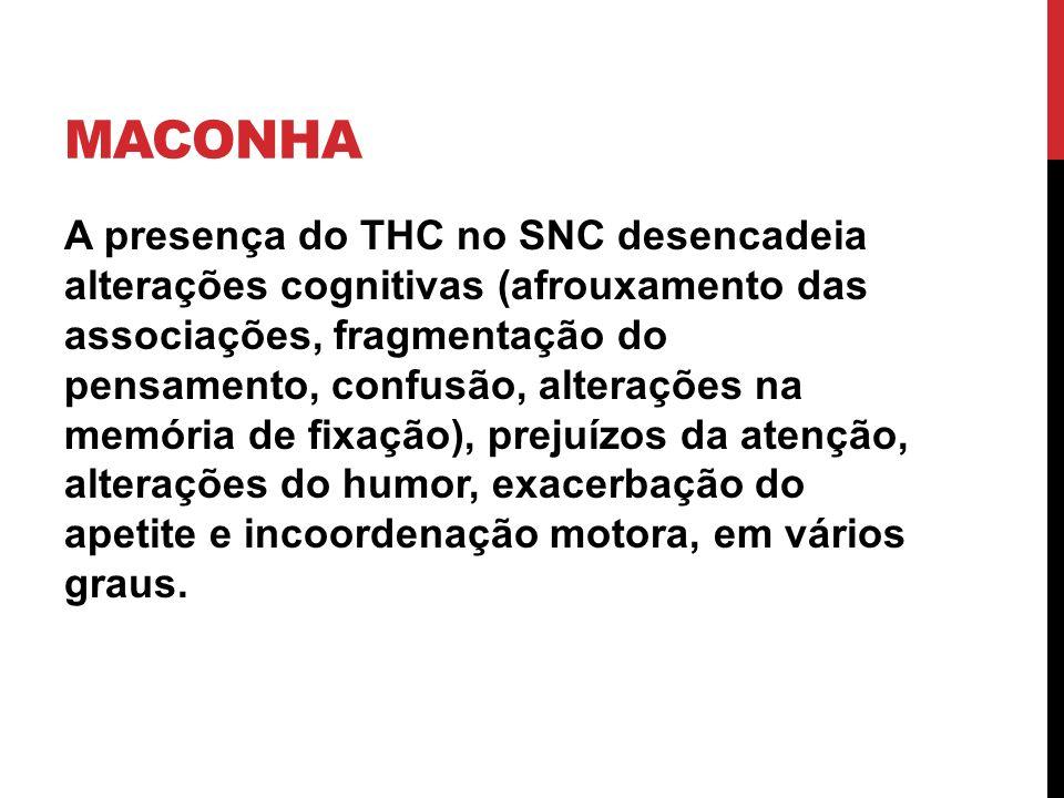 MACONHA A presença do THC no SNC desencadeia alterações cognitivas (afrouxamento das associações, fragmentação do pensamento, confusão, alterações na
