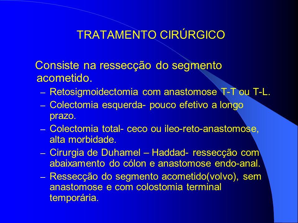 TRATAMENTO CIRÚRGICO Consiste na ressecção do segmento acometido.