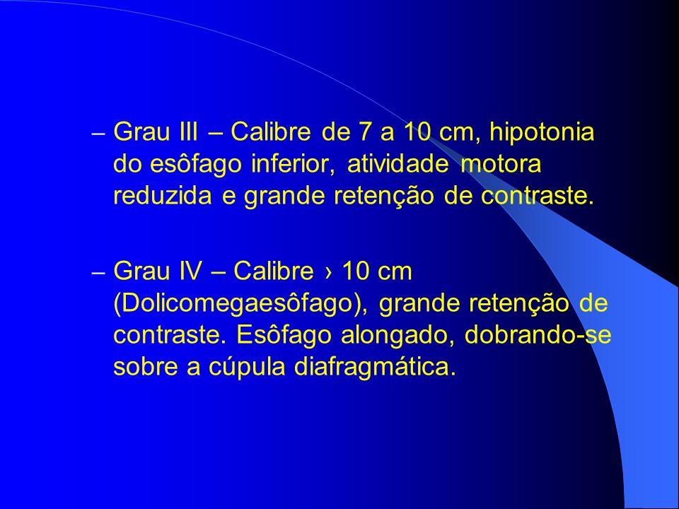 – Grau III – Calibre de 7 a 10 cm, hipotonia do esôfago inferior, atividade motora reduzida e grande retenção de contraste. – Grau IV – Calibre 10 cm