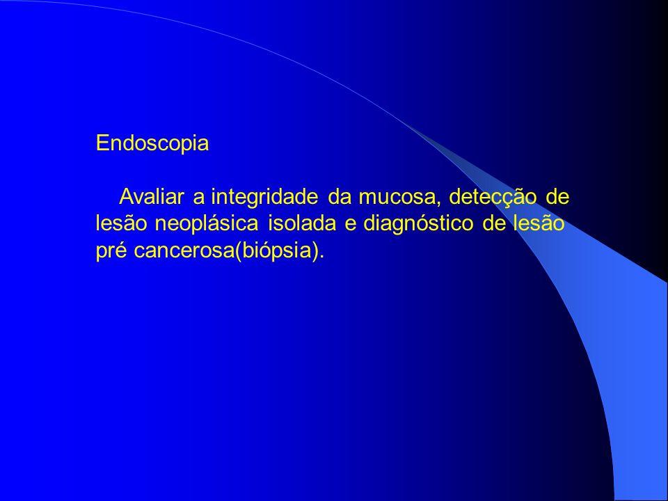 Endoscopia Avaliar a integridade da mucosa, detecção de lesão neoplásica isolada e diagnóstico de lesão pré cancerosa(biópsia).