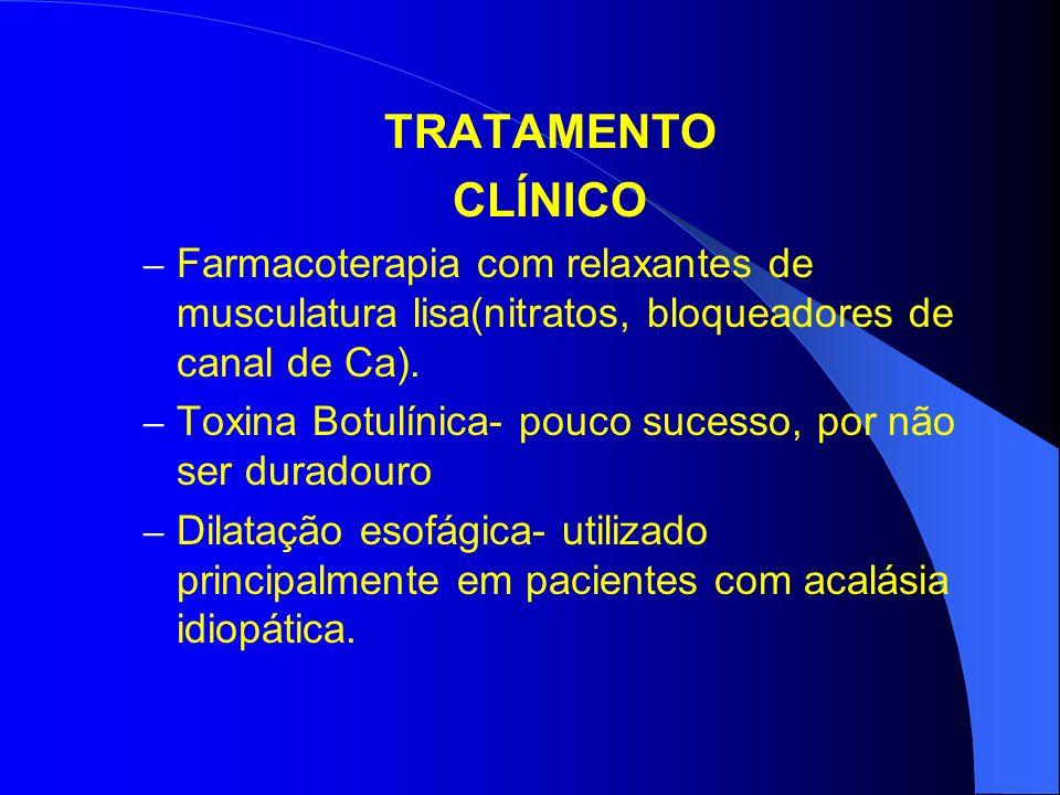 TRATAMENTO CLÍNICO – Farmacoterapia com relaxantes de musculatura lisa(nitratos, bloqueadores de canal de Ca). – Toxina Botulínica- pouco sucesso, por