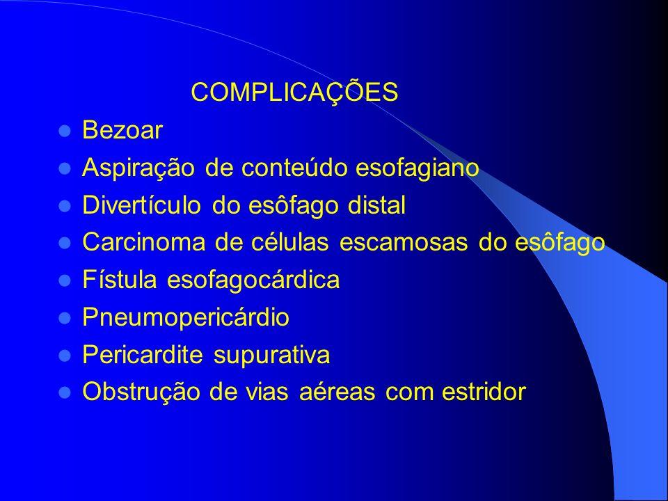 COMPLICAÇÕES Bezoar Aspiração de conteúdo esofagiano Divertículo do esôfago distal Carcinoma de células escamosas do esôfago Fístula esofagocárdica Pn