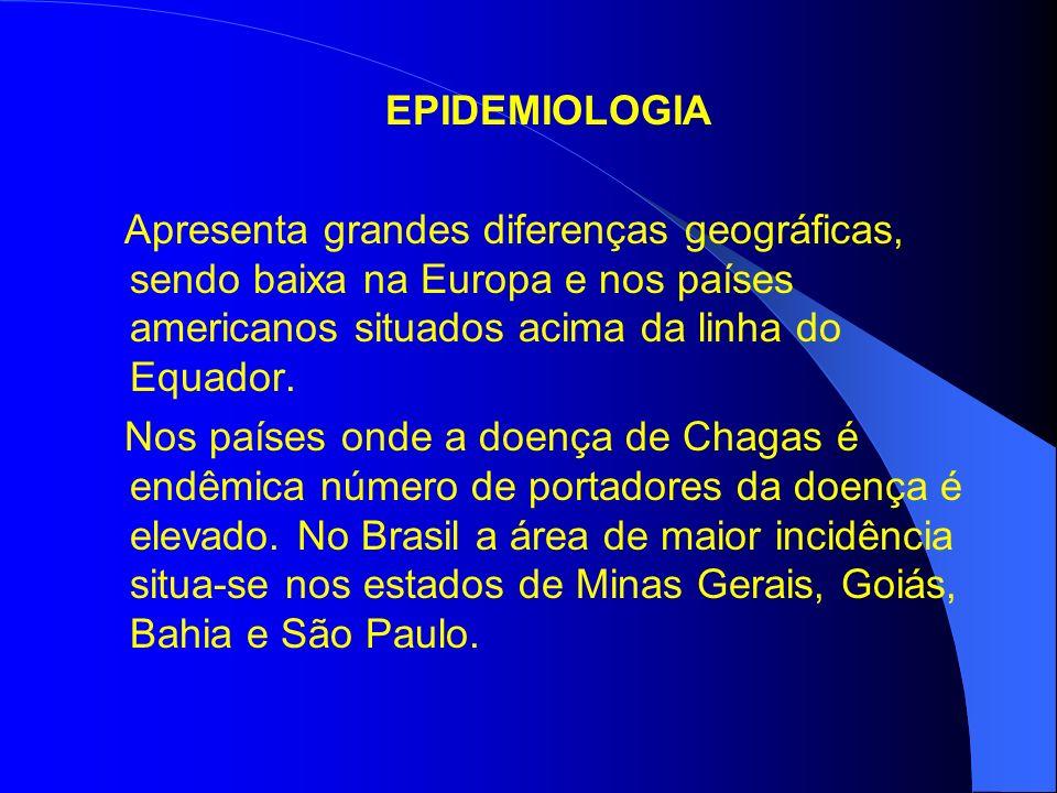EPIDEMIOLOGIA Apresenta grandes diferenças geográficas, sendo baixa na Europa e nos países americanos situados acima da linha do Equador. Nos países o