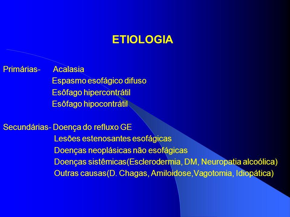 Eletromanometria - Aperistalse do esôfago em seu corpo - Não relaxamento do EEI- Hipertonia Solicitada quando o exame contrastado e a endoscopia não conseguem diagnosticar a causa da disfagia(acalásia idiopática, esclerodermia).