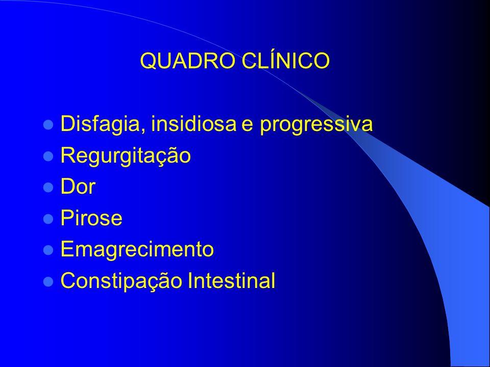 QUADRO CLÍNICO Disfagia, insidiosa e progressiva Regurgitação Dor Pirose Emagrecimento Constipação Intestinal