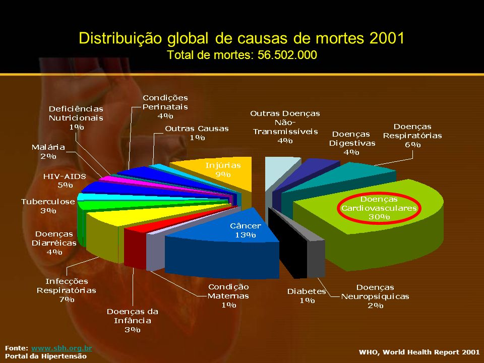 WHO, World Health Report 2001 Fonte: www.sbh.org.brwww.sbh.org.br Portal da Hipertensão Distribuição global de causas de mortes 2001 Total de mortes: