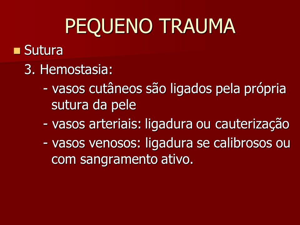 PEQUENO TRAUMA Sutura Sutura 3. Hemostasia: - vasos cutâneos são ligados pela própria sutura da pele - vasos arteriais: ligadura ou cauterização - vas