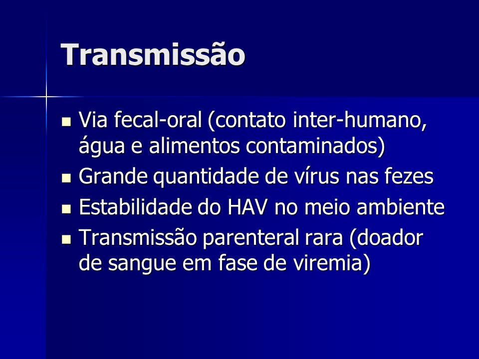 Transmissão Via fecal-oral (contato inter-humano, água e alimentos contaminados) Via fecal-oral (contato inter-humano, água e alimentos contaminados)