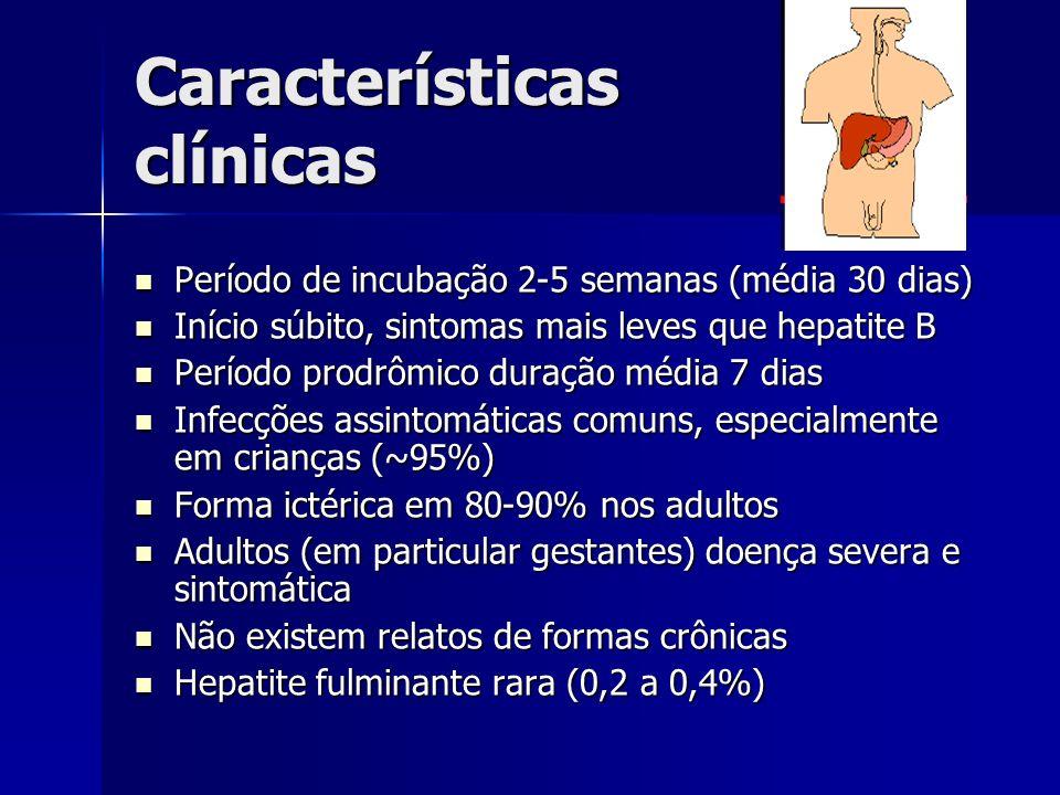 Características clínicas Período de incubação 2-5 semanas (média 30 dias) Período de incubação 2-5 semanas (média 30 dias) Início súbito, sintomas mai