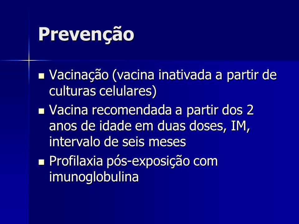 Prevenção Vacinação (vacina inativada a partir de culturas celulares) Vacinação (vacina inativada a partir de culturas celulares) Vacina recomendada a