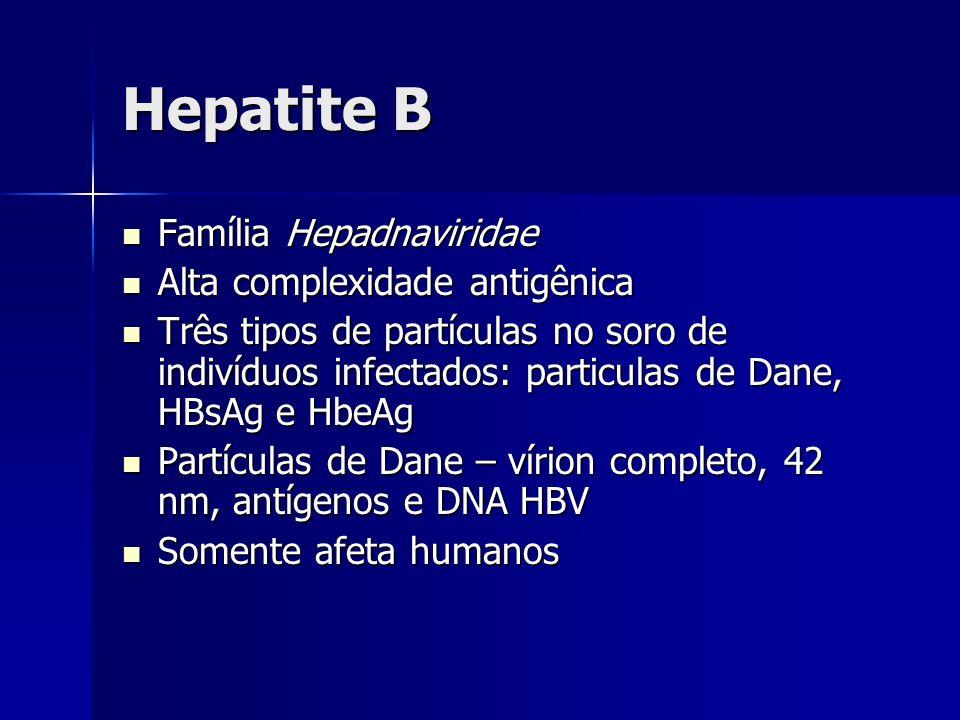 Hepatite B Família Hepadnaviridae Família Hepadnaviridae Alta complexidade antigênica Alta complexidade antigênica Três tipos de partículas no soro de