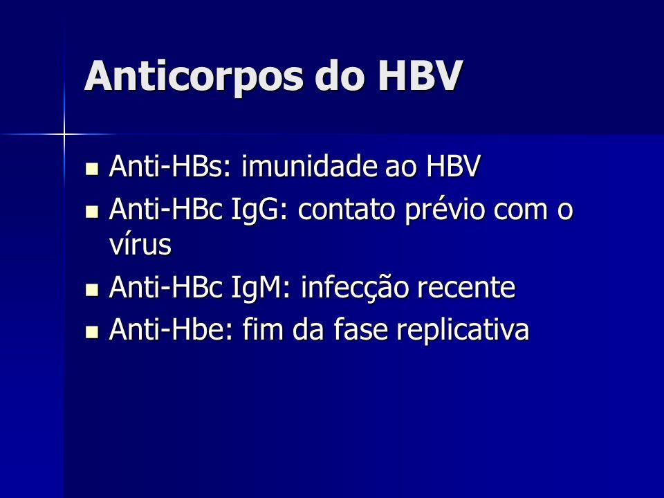 Anticorpos do HBV Anti-HBs: imunidade ao HBV Anti-HBs: imunidade ao HBV Anti-HBc IgG: contato prévio com o vírus Anti-HBc IgG: contato prévio com o ví