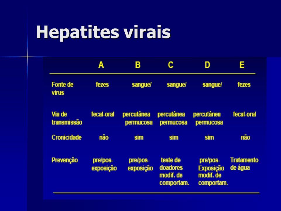Antígenos do HBV HBsAg – antígeno de superfície, esférica, 22nm, não- infecciosas, grande quantidade durante infecção viral HBsAg – antígeno de superfície, esférica, 22nm, não- infecciosas, grande quantidade durante infecção viral HBcAg – região nuclear densa da partícula de Dane, não secretado HBcAg – região nuclear densa da partícula de Dane, não secretado HBeAg – parte central do vírus, secretado, indica replicação e infectividade HBeAg – parte central do vírus, secretado, indica replicação e infectividade