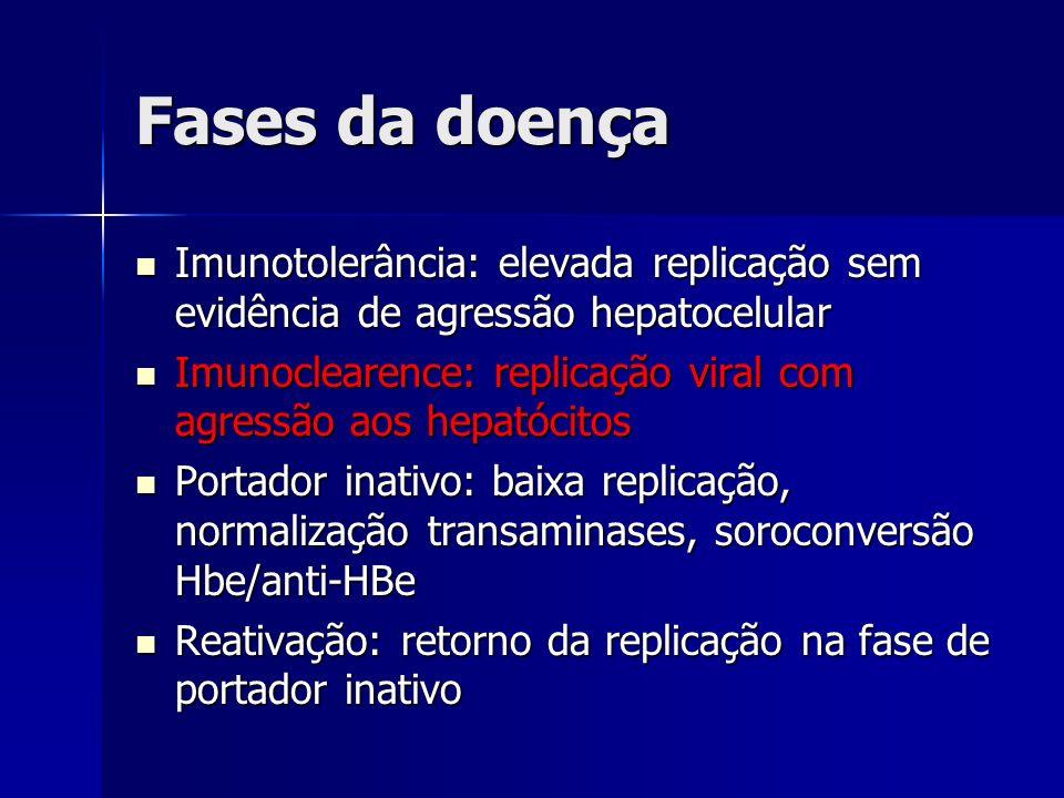 Fases da doença Imunotolerância: elevada replicação sem evidência de agressão hepatocelular Imunotolerância: elevada replicação sem evidência de agres