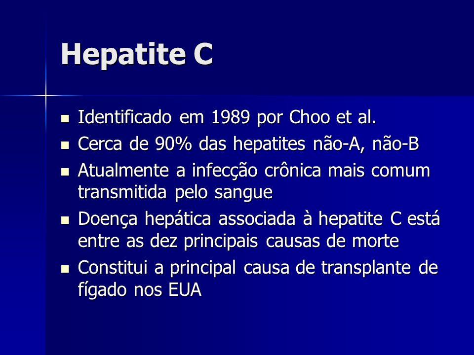 Hepatite C Identificado em 1989 por Choo et al. Identificado em 1989 por Choo et al. Cerca de 90% das hepatites não-A, não-B Cerca de 90% das hepatite