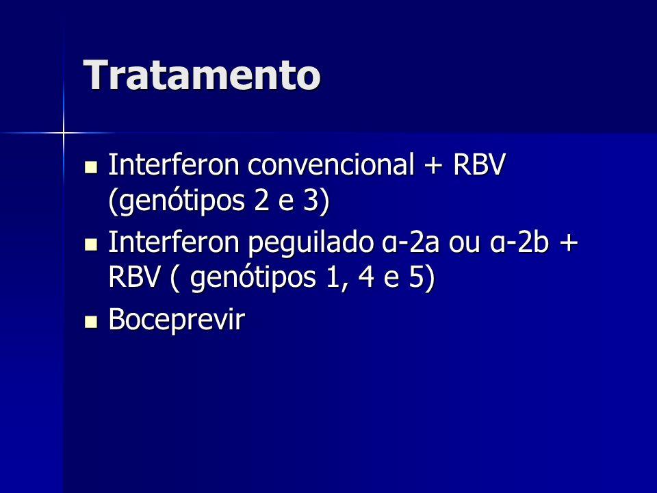 Tratamento Interferon convencional + RBV (genótipos 2 e 3) Interferon convencional + RBV (genótipos 2 e 3) Interferon peguilado α-2a ou α-2b + RBV ( g