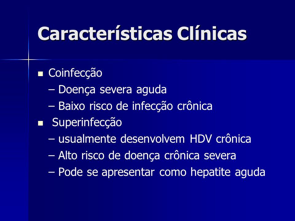 Características Clínicas Coinfecção – Doença severa aguda – Baixo risco de infecção crônica Superinfecção – usualmente desenvolvem HDV crônica – Alto