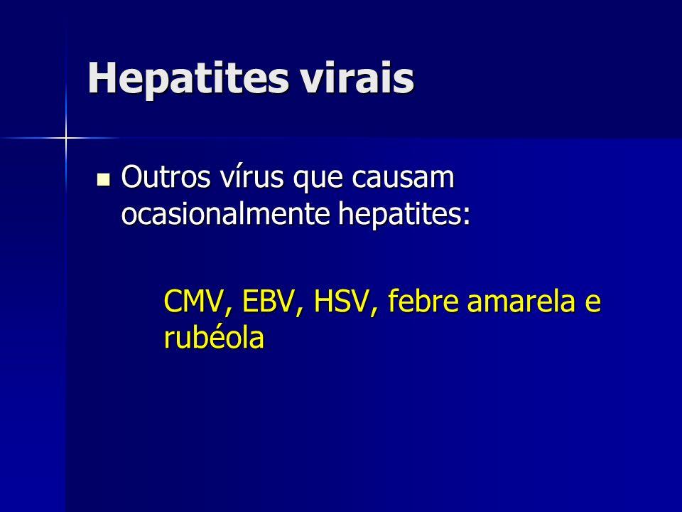 Diagnóstico Anti-HCV: recomendado com teste inicial, indicando contato prévio com vírus C, mas não define se recente ou tardio Anti-HCV: recomendado com teste inicial, indicando contato prévio com vírus C, mas não define se recente ou tardio HCV-RNA qualitativo: confirmação diagnóstica HCV-RNA qualitativo: confirmação diagnóstica HCV-RNA quantitativo: importante na avaliação de resposta ao tratamento HCV-RNA quantitativo: importante na avaliação de resposta ao tratamento Genotipagem Genotipagem