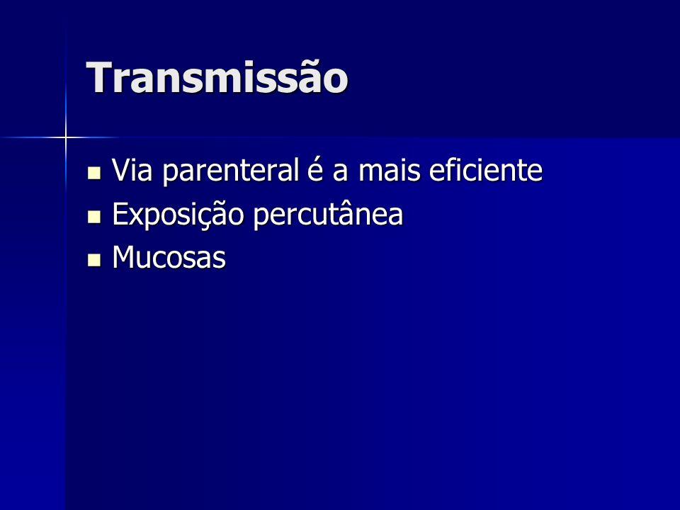 Transmissão Via parenteral é a mais eficiente Via parenteral é a mais eficiente Exposição percutânea Exposição percutânea Mucosas Mucosas