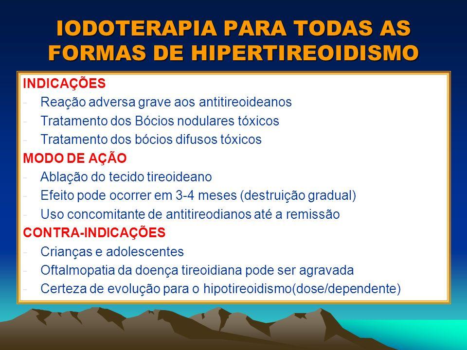IODOTERAPIA PARA TODAS AS FORMAS DE HIPERTIREOIDISMO INDICAÇÕES -Reação adversa grave aos antitireoideanos -Tratamento dos Bócios nodulares tóxicos -T