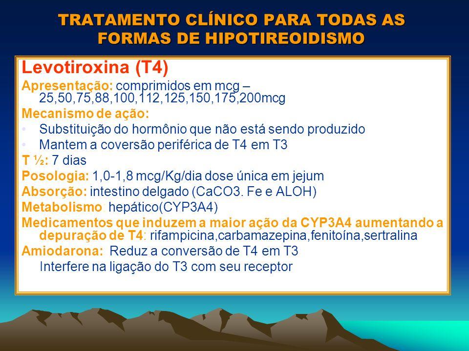 TRATAMENTO CLÍNICO PARA TODAS AS FORMAS DE HIPOTIREOIDISMO Levotiroxina (T4) Apresentação: comprimidos em mcg – 25,50,75,88,100,112,125,150,175,200mcg