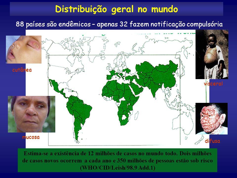 90% dos casos de leishmaniose visceral no mundo ocorrem em Bangladesh, Brasil, Índia, Nepal e Sudão (WHO/CID/Leish/98.9 Add.1)