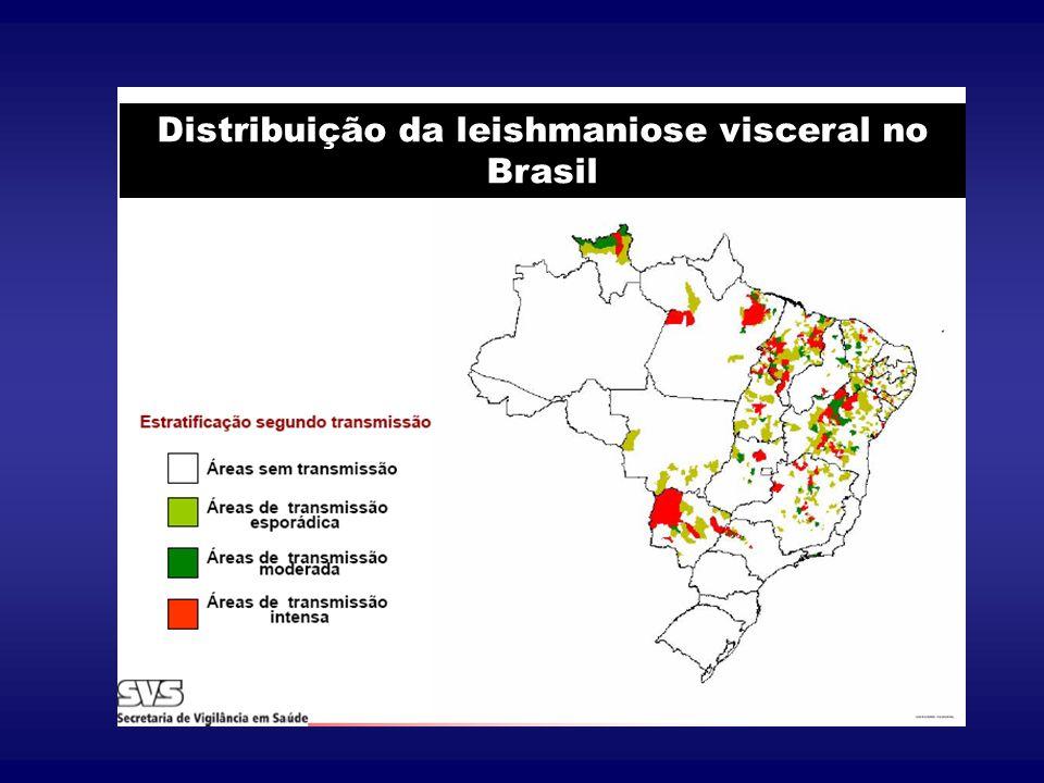 Distribuição Geográfica Expansão da doença no país Número estável de casos no nordeste com aumento em outras regiões: norte, sudeste e centro-oeste Urbanização da doença atingindo grandes centros urbanos Em Várzea Grande, casos desde 1994