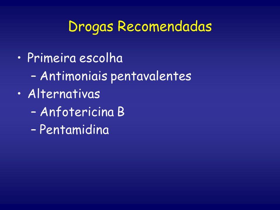 Primeira escolha –Antimoniais pentavalentes Alternativas –Anfotericina B –Pentamidina Drogas Recomendadas