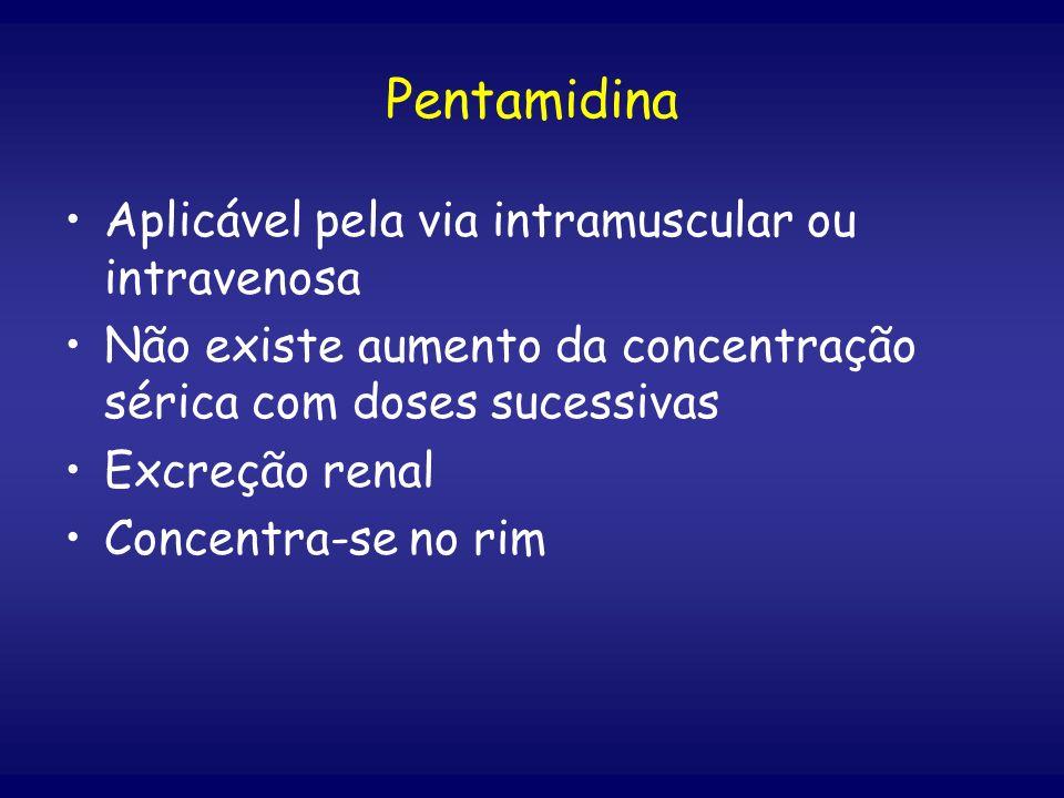 Pentamidina Aplicável pela via intramuscular ou intravenosa Não existe aumento da concentração sérica com doses sucessivas Excreção renal Concentra-se