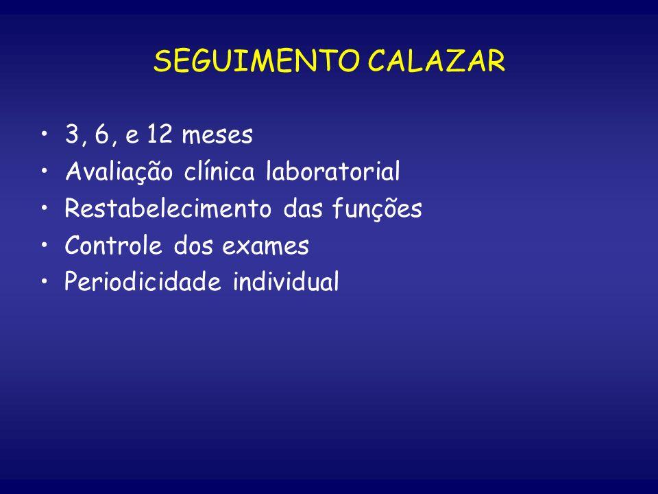 SEGUIMENTO CALAZAR 3, 6, e 12 meses Avaliação clínica laboratorial Restabelecimento das funções Controle dos exames Periodicidade individual