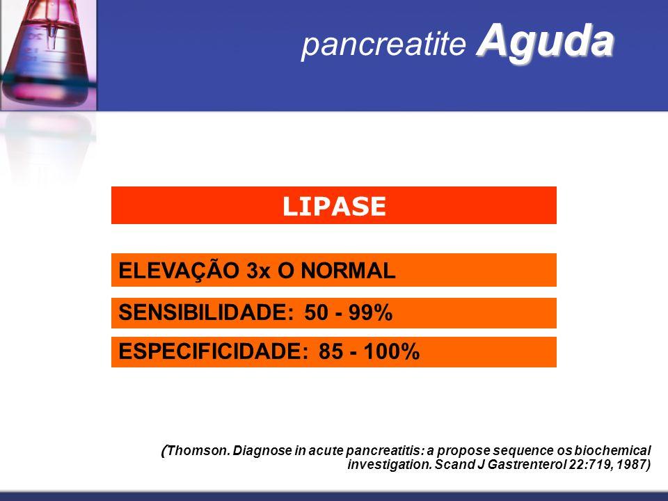 Aguda pancreatite Aguda LIPASE ELEVAÇÃO 3x O NORMAL SENSIBILIDADE: 50 - 99% ESPECIFICIDADE: 85 - 100% ( Thomson. Diagnose in acute pancreatitis: a pro
