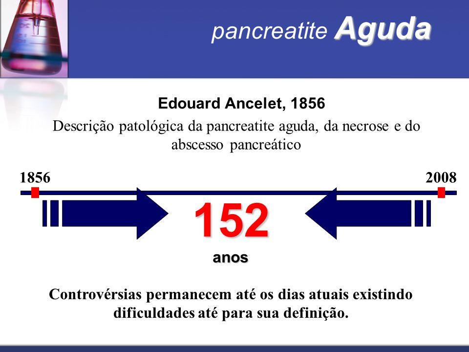 Aguda pancreatite Aguda Edouard Ancelet, 1856 Descrição patológica da pancreatite aguda, da necrose e do abscesso pancreático 18562008 152 anos Contro
