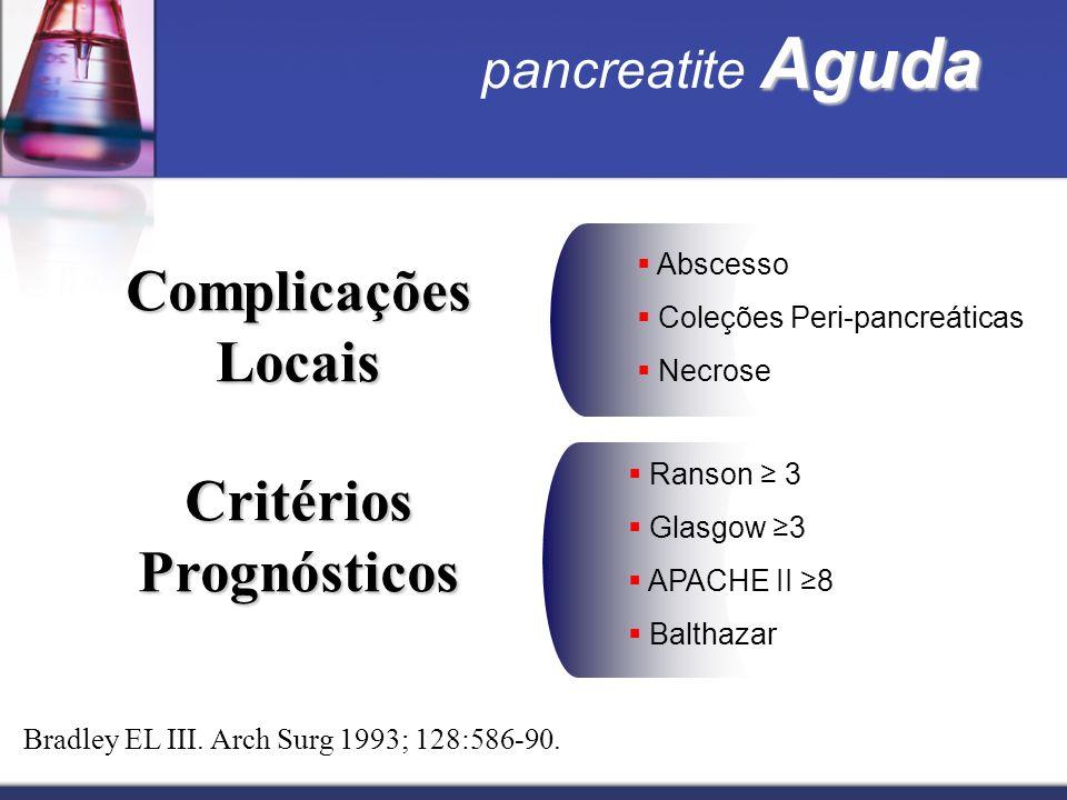 Aguda pancreatite Aguda Complicações Locais Abscesso Coleções Peri-pancreáticas Necrose Bradley EL III. Arch Surg 1993; 128:586-90. Critérios Prognóst