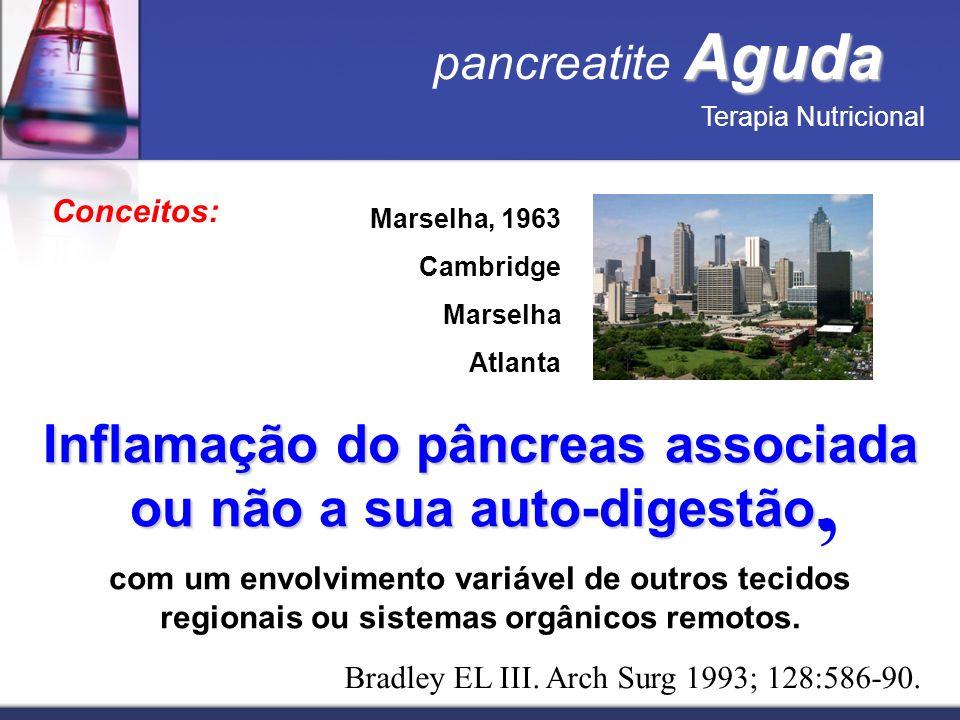 Aguda pancreatite Aguda Terapia Nutricional Conceitos: Marselha, 1963 Cambridge Marselha Atlanta Inflamação do pâncreas associada ou não a sua auto-di