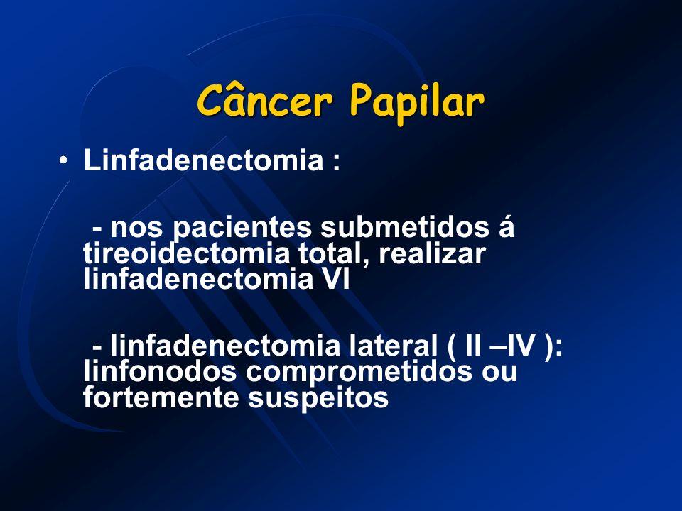 Câncer Papilar Linfadenectomia : - nos pacientes submetidos á tireoidectomia total, realizar linfadenectomia VI - linfadenectomia lateral ( II –IV ):