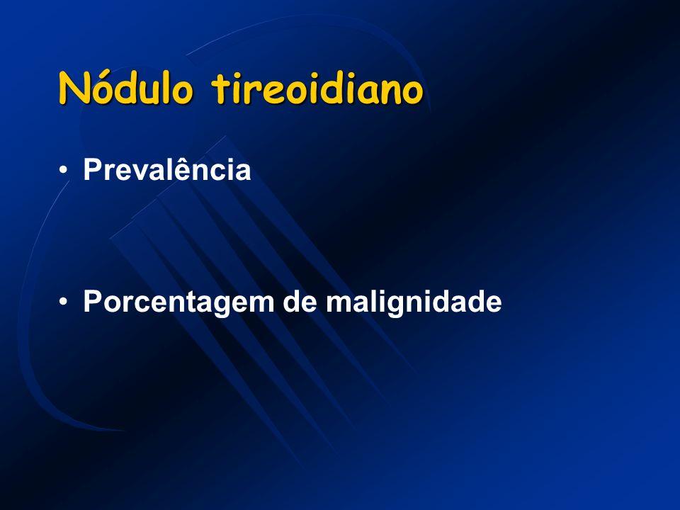 Nódulo tireoidiano Risco de malignidade : -Crescimento rápido -Fixação a estruturas adjacentes -Nódulo endurecido -Adenomegalia cervical -História radioterapia -Hístória familiar