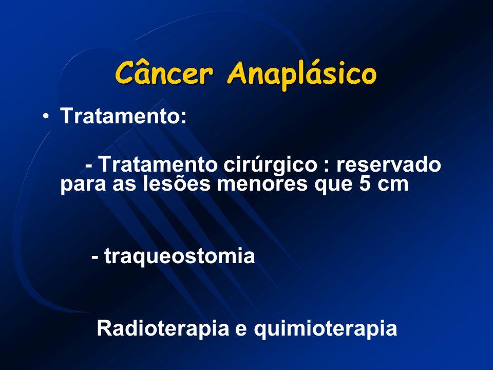 Câncer Anaplásico Tratamento: - Tratamento cirúrgico : reservado para as lesões menores que 5 cm - traqueostomia Radioterapia e quimioterapia